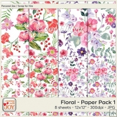 12x12 PU Floral Watercolor Background Papers 1