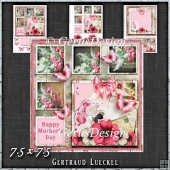 Shabby Vintage Floral Card Kit Red 1451