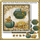 Green And Gold Perfume And Roses Card Front