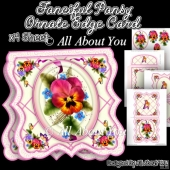 Fanciful Pansy Ornate Edge Card