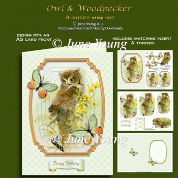 Owl & Woodpecker - 3-Sheet mini-kit