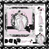 Elegant Pink Lady Decoupage Card Front