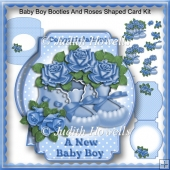 Baby Boy Booties And Roses Shaped Card Kit