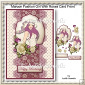 Maroon Fashion Girl With Roses Card Front