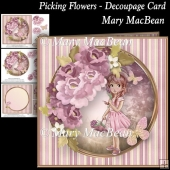 Picking Flowers - Decoupage Card