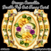 Orange Camellia Double Pop Out Card