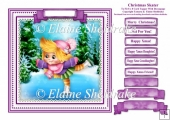 Christmas Ice Skater - Square Card Topper With Family Greetings