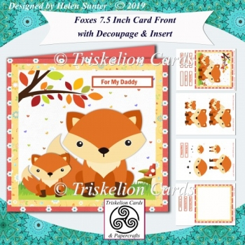 Foxes 7.5 Inch Card Front with Decoupage & Insert
