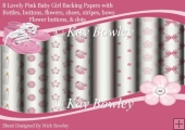 8 Lovely baby girl,.. pink variety of backing papers