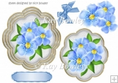 pretty blue flowers with corner bow topper/card front