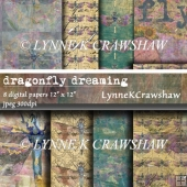 DRAGONFLY DREAMING set of 8 original decorative digital papers