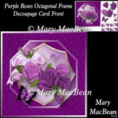 Purple Roses Octagonal Frame Decoupage Card Front