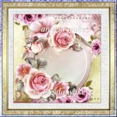 birthday rose 7x7 card with decoupage and sentiment tags