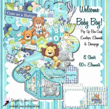 3D POP UP BOX CARD KIT - WELCOME BABY BOY