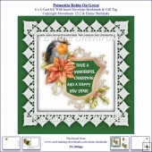 Poinsettia Christmas Robin On Green 6 x 6 Card Kit + Insert etc.