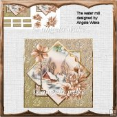 The water mill card with decoupage