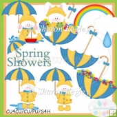 Spring Shower Bunnies Blue Clip Art