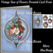 Vintage Vase of Flowers Pyramid Card Front