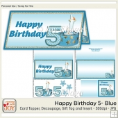 DL size Blue 5th Birthday Angel