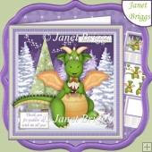 DRAGON PUDDIN' UP WITH ME 7.5 Christmas Decoupage & Insert Kit