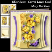 Yellow Roses - Curved Layers Card