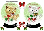 Christmas kitties in snow globes with holly A5