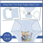 Baby Bear Twin Boys Nappy Shaped Card