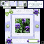 Build A Shabby Chic Decoupage Pansy Card Topper Kit & Inserts