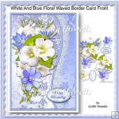 White And Blue Floral Waved Border Card Front