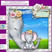 Mama And Baby Girl Elephant Over The Edge Card Kit