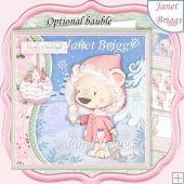 SNOWBEAR & BIRD 7.5 Christmas Decoupage & Insert Card Kit