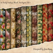 10 Truely Vintage Floral A4 Papers Set 1
