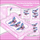 Pink Blue Butterflies N Roses Notelet Set