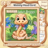 LEGLESS SNAKE WOBBLY HEAD CARD 8x8 Decoupage, Ages & Insert Kit