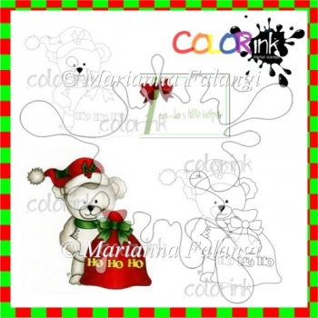 Bastian the Bear HOHOHO and sentiment Digi stamp