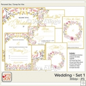 Floral Watercolor Wedding Invitation Set 1