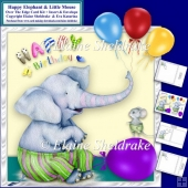 8 x 8 Happy Elephant & Little Mouse Over The Edge Card Kit.