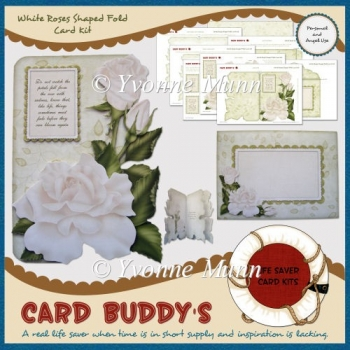 White Roses Shaped Fold Card Kit