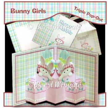 Bunny Girls Triple Pop-Out Card & Gift Bag