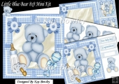 Cute blue teddy bear with bottle & Rattle 8x8 Mini Kit