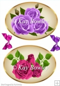 two lovely purple and pink roses toppers with matching bows