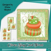 Citrus Zing Birthday Cake Card Front