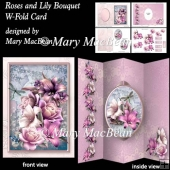 Rose and Lily Bouquet - W-Fold Card