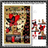 Be Mine Valentine Bear Waved Edge Card Front