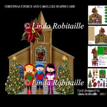 Christmas Church And Carollers Shaped Card