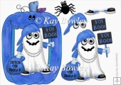 Yo! Boo! Halloween Rapper Ghost in Blue pumpkin frame