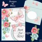 Floral Butterfly Part Circle Corner Card