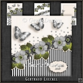 Vintage Flowers Stripes and Butterflies grey 1078