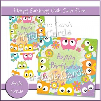 Happy Birthday Owls Card Front