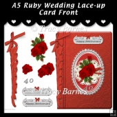 A5 Ruby Wedding Lace-up Card Front